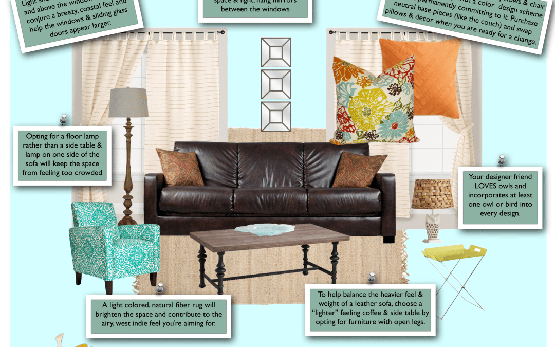 Key West Coastal Living Room – E-Design Client