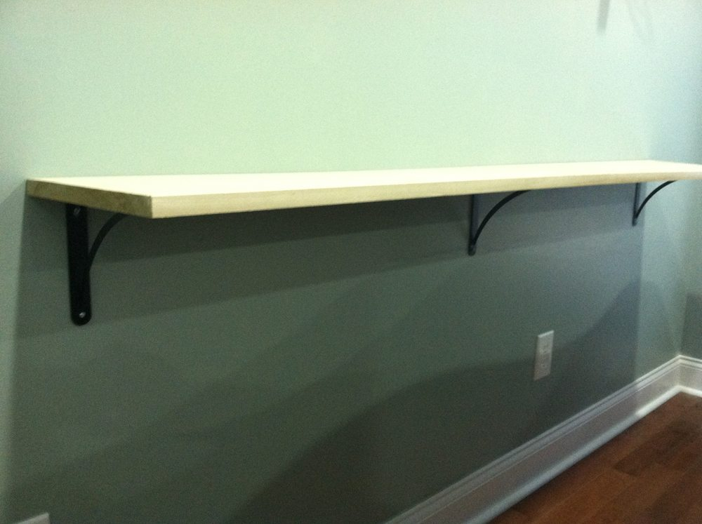 Diy sofa table shelf bracket spacing a space to call home for Table th spacing