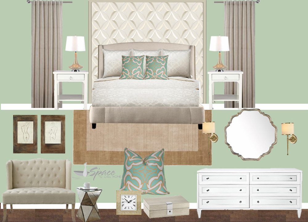Mood Boards Elegant Classic Master Bedroom Mint Gold