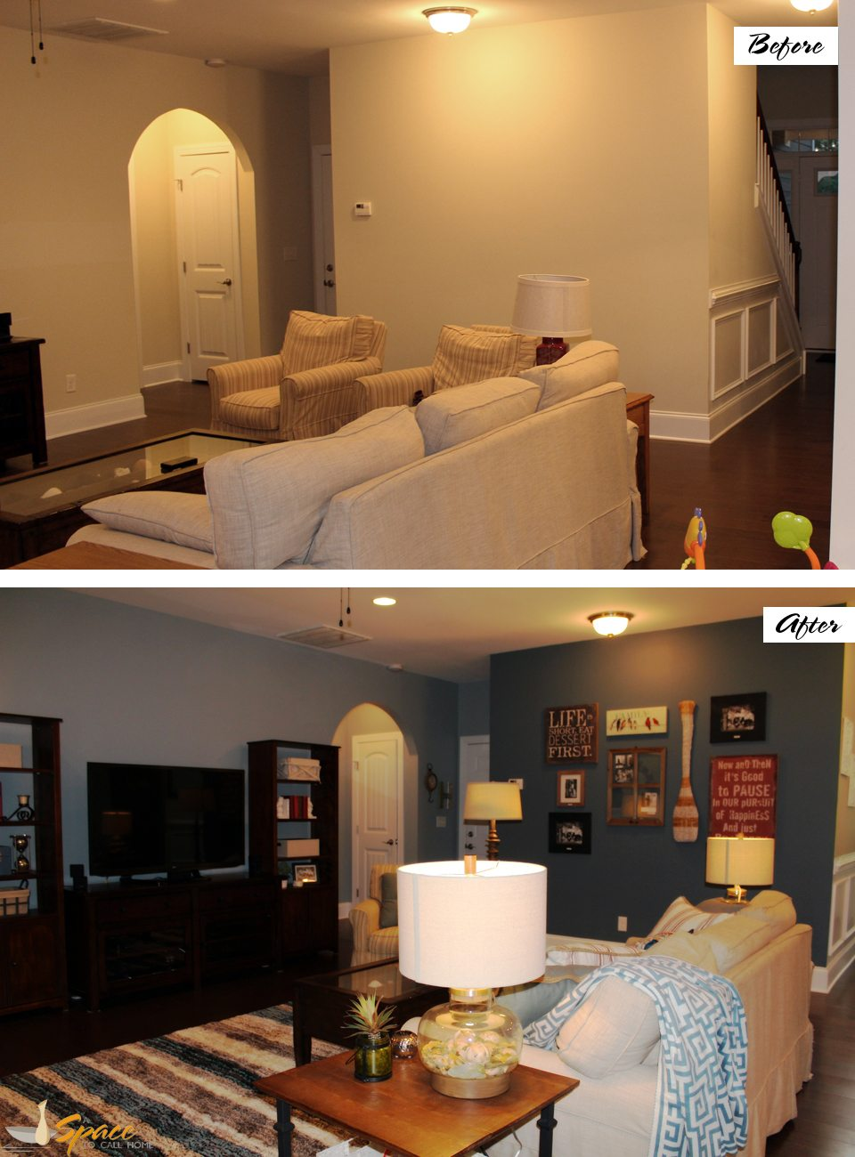 living room design before and after blue accent wall