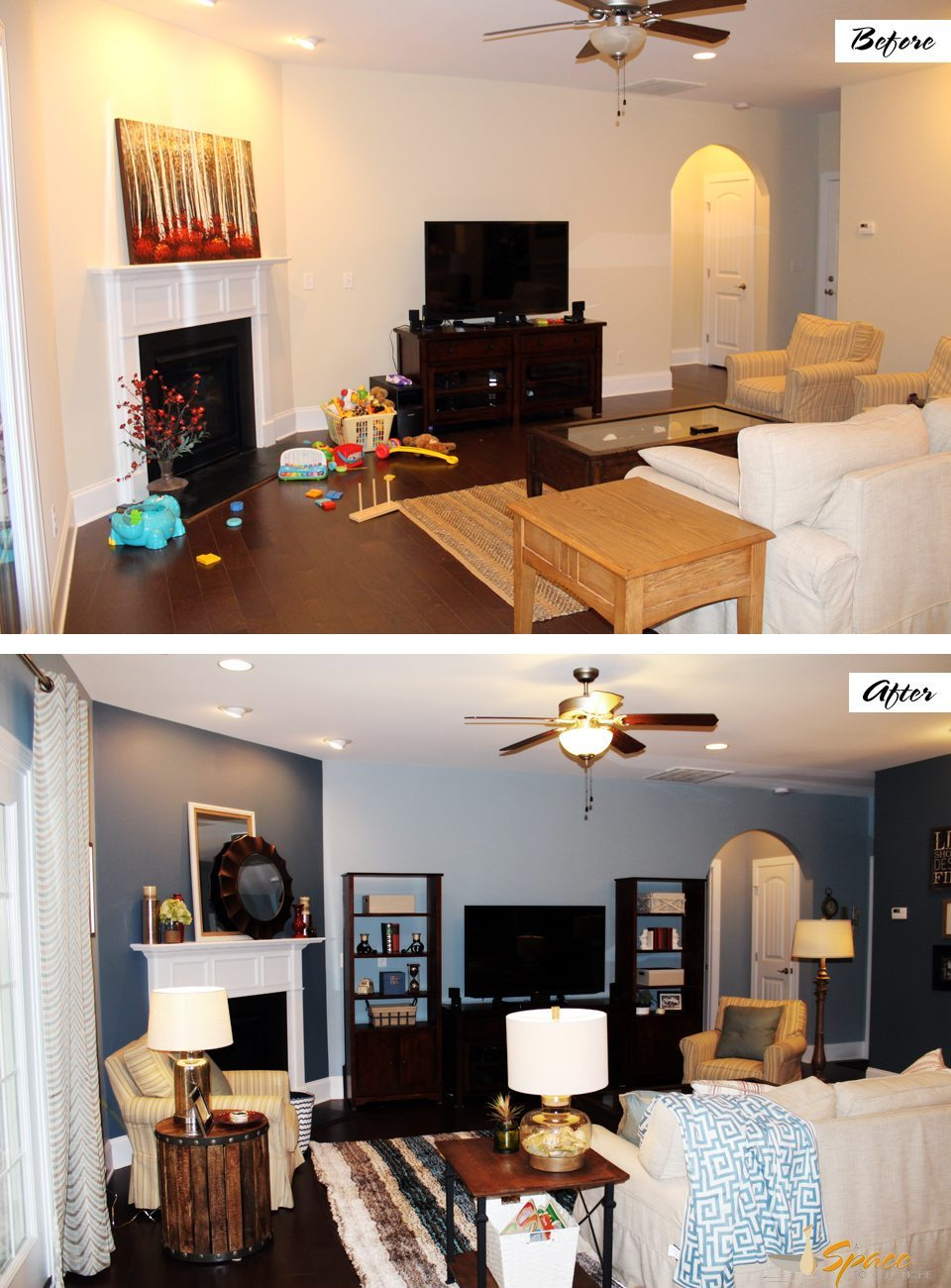 living room design before and after