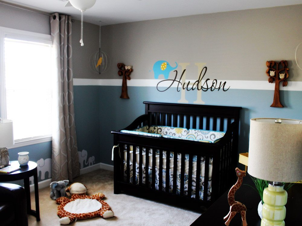 Elephant baby boy nursery ideas thenurseries for Baby boy picture ideas