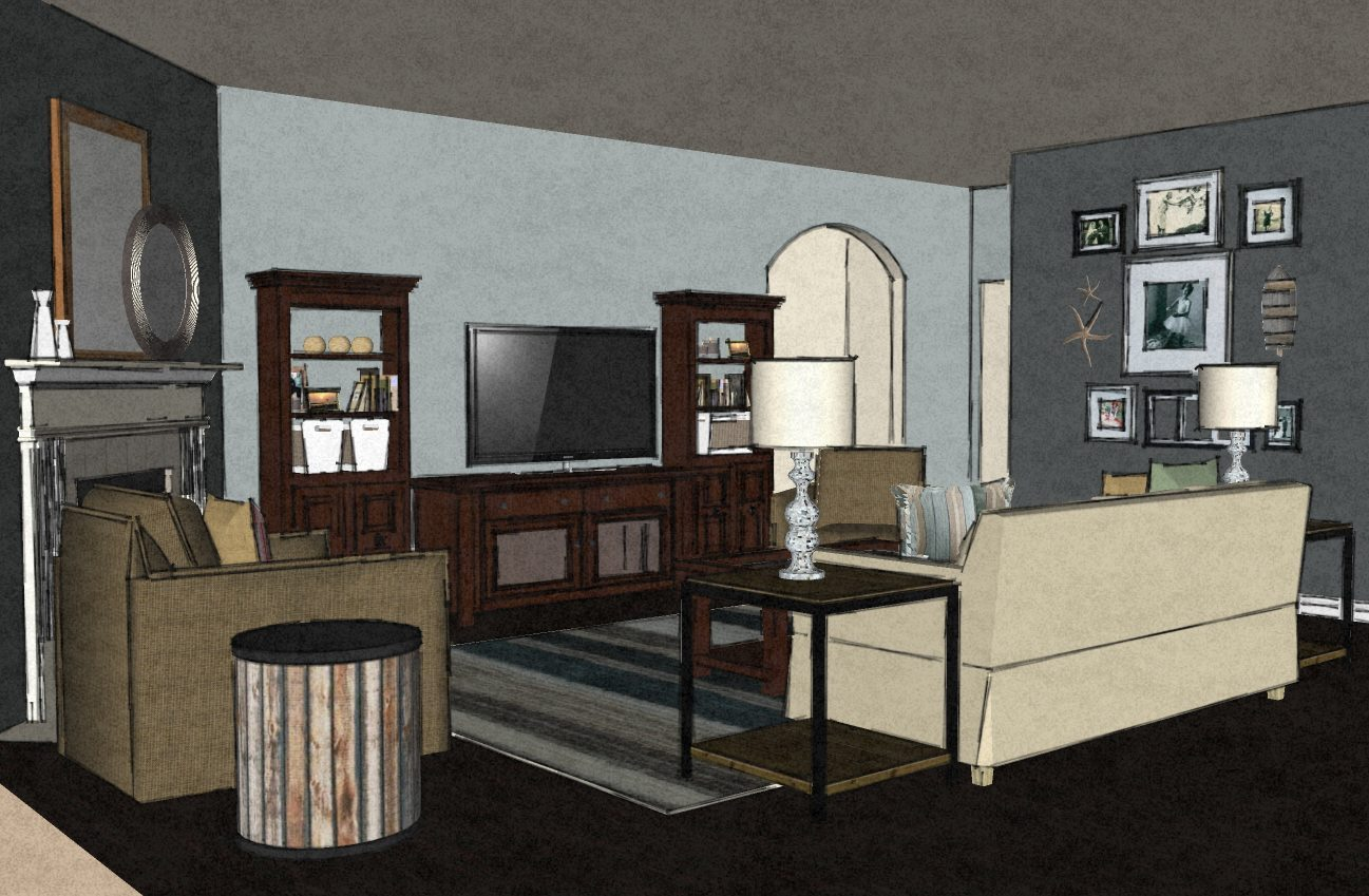 Transitional Virtual Living Room Design 1