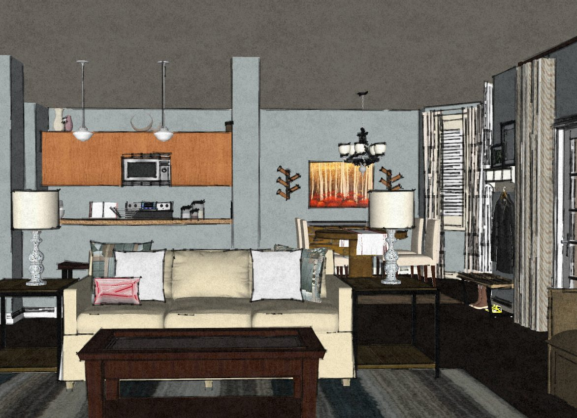 Transitional virtual living room design 3 a space to for Interactive room layout