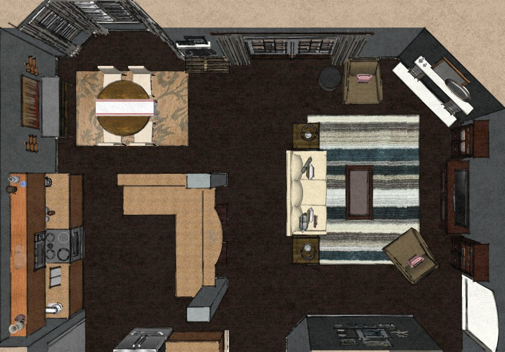 Transitional virtual living room design layout a space - Virtual living room designer ...