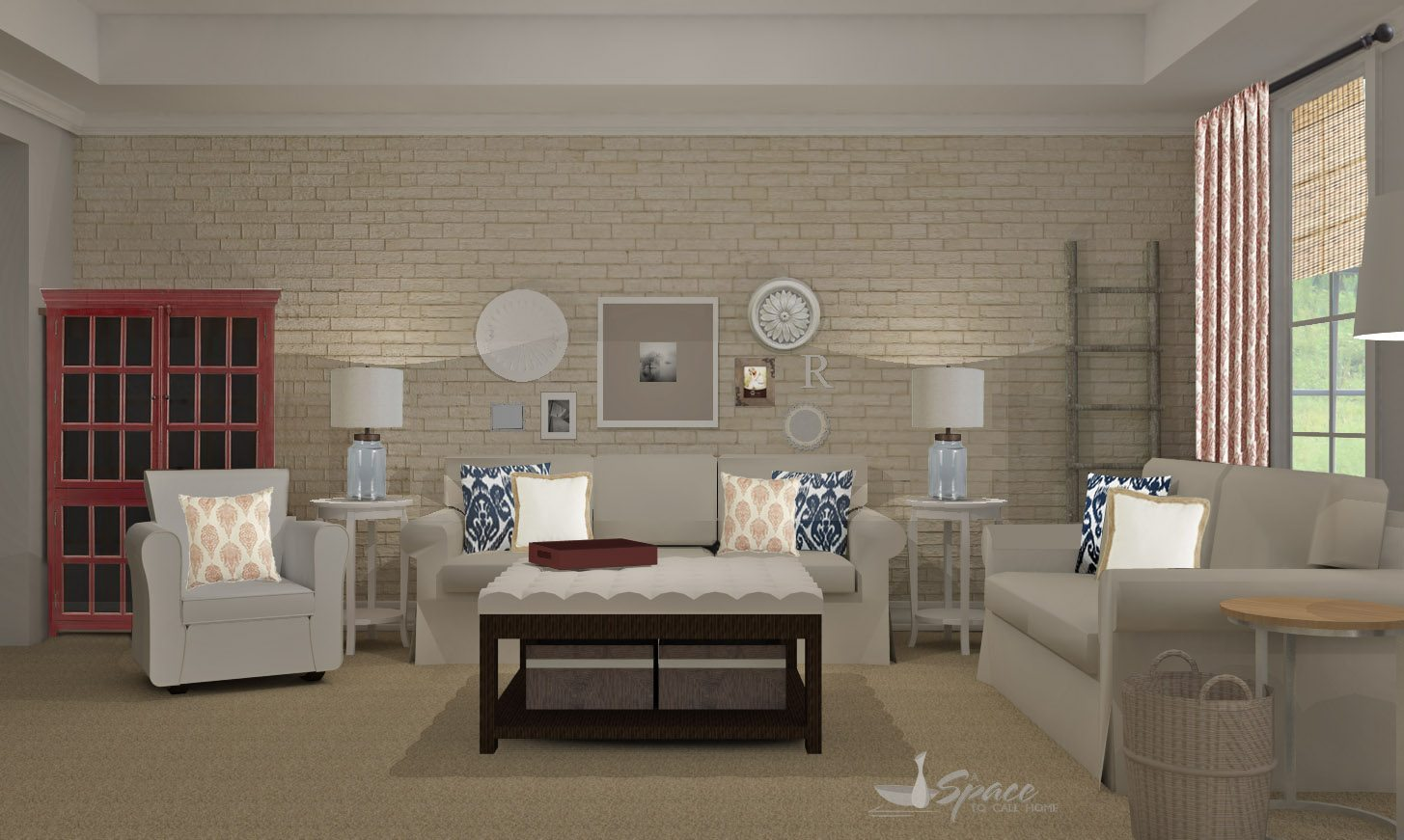 Gray And White Transitional Rustic Living Room With: Rustic Transitional Living Room Design