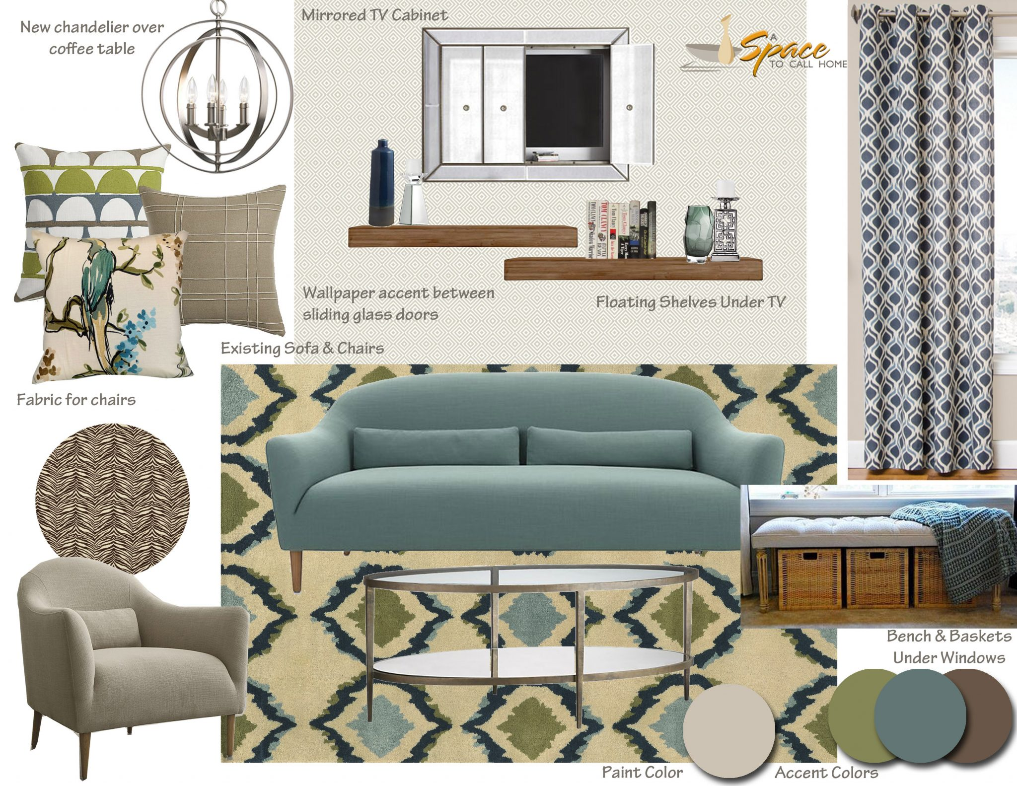 Mid century modern living room inspiration board a space for Modern contemporary decor