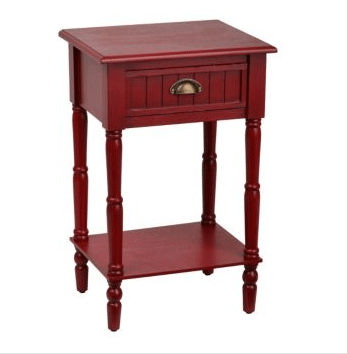 How To Decorate A Farmhouse Living Room - Red Side Table