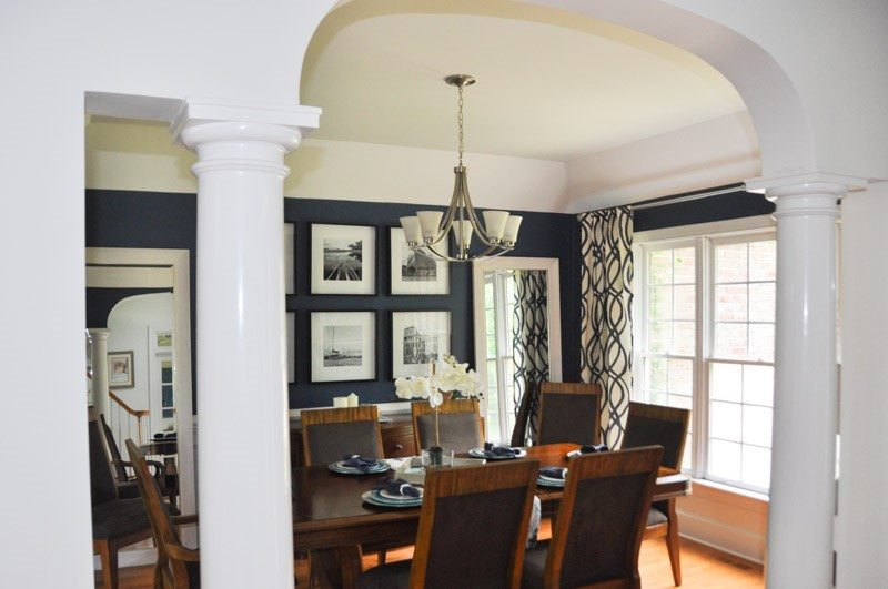 Modern Dining Room Design Blue Paint