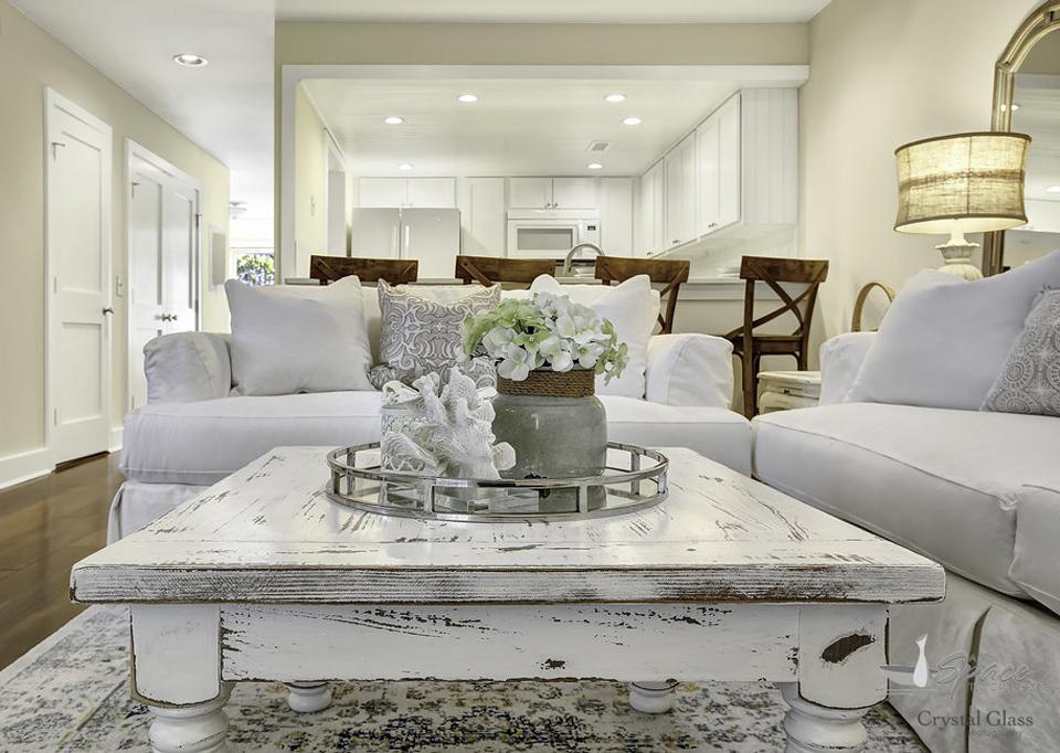 Vintage All White Living Room U0026 Dining Room Design