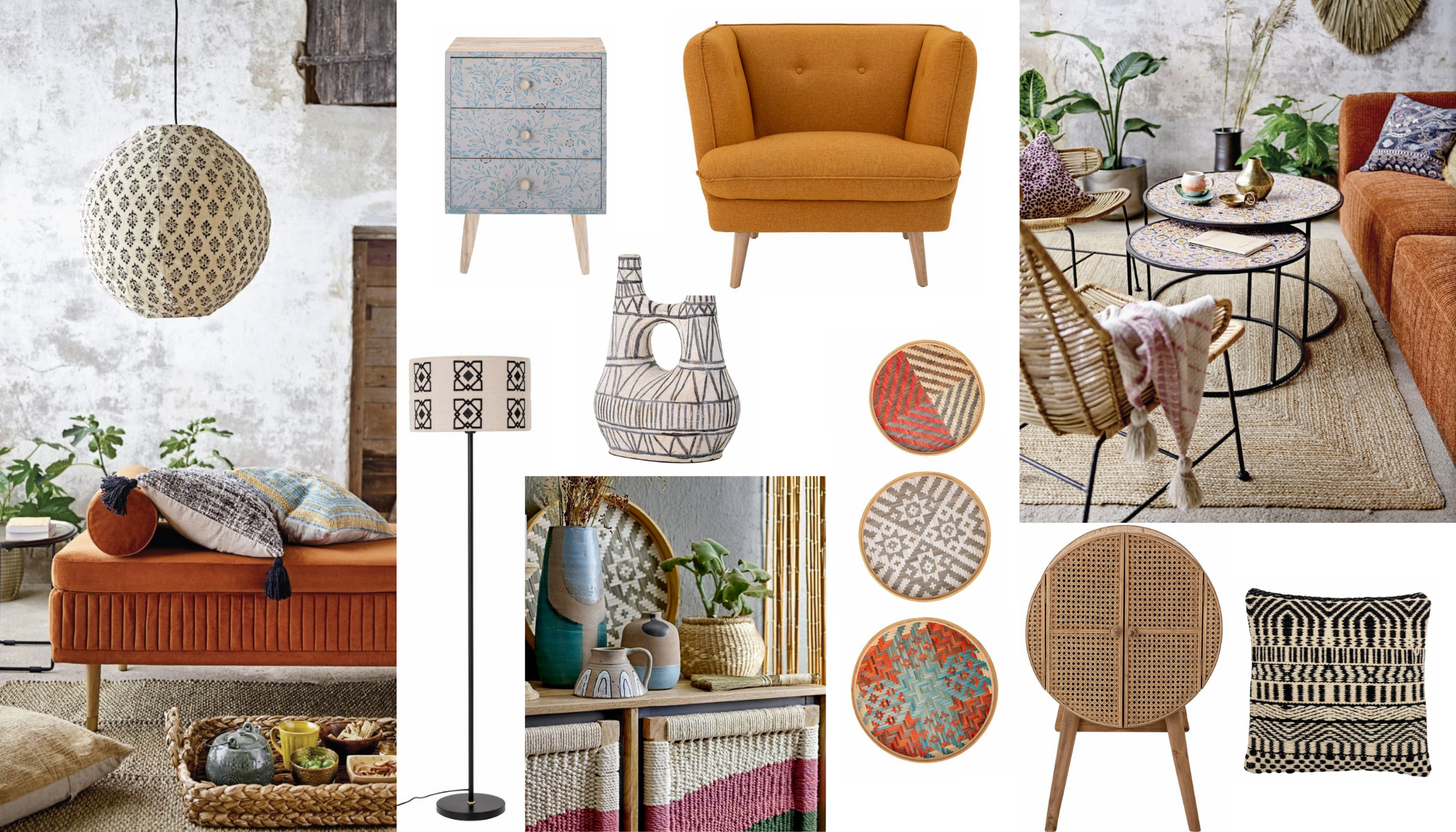 Boho eclectic design style