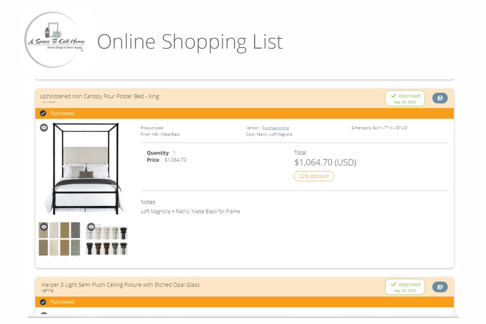 Virtual design shopping list