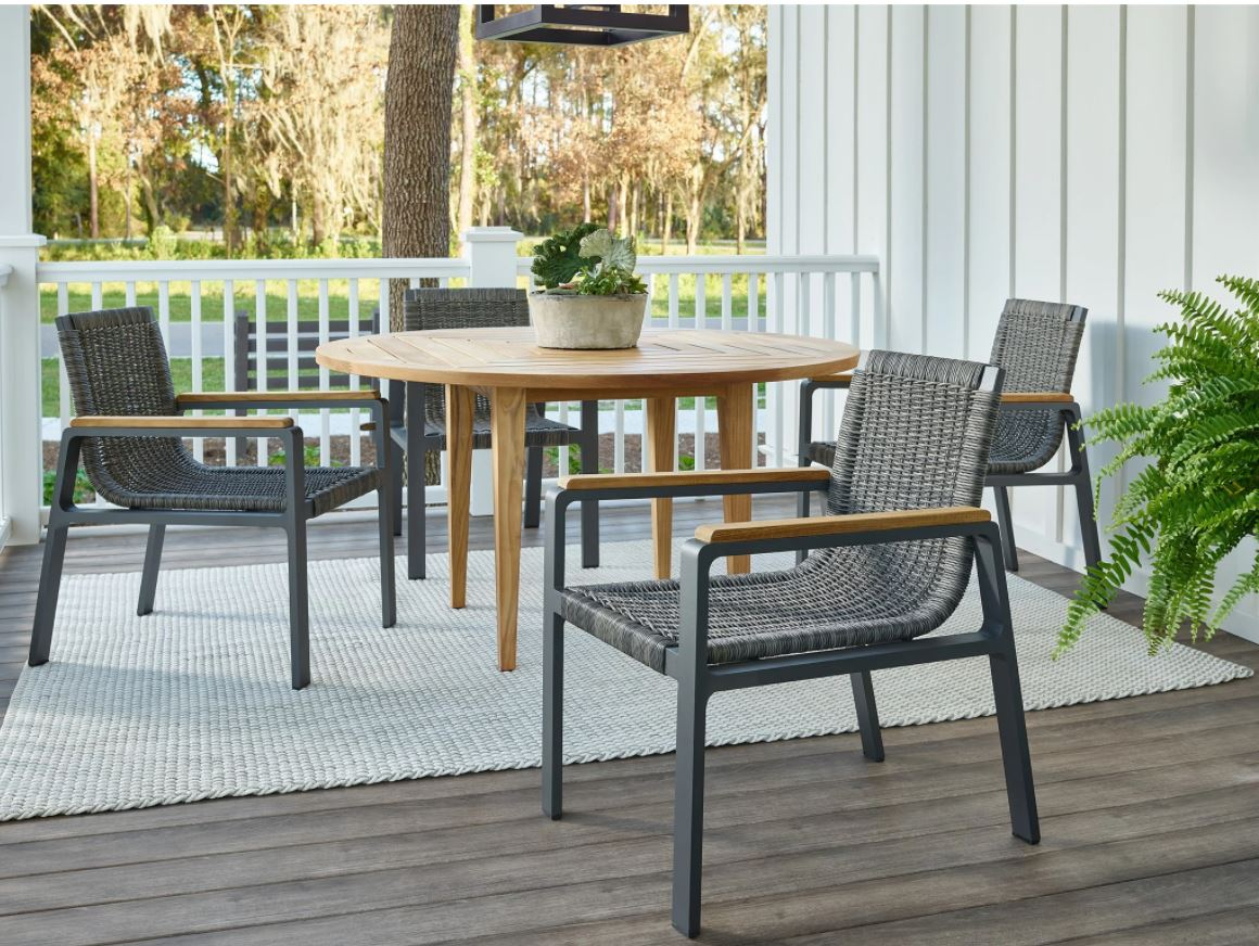 Teak Table With Aluminum And Wicker Dining Chair